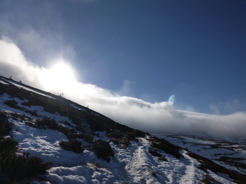 Just the Coire holding onto the cloud today
