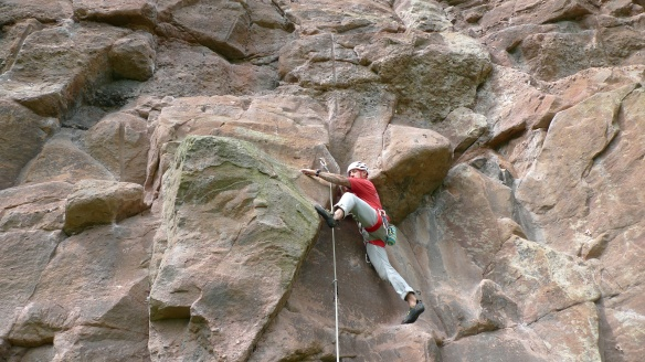 Starting up a route on the Main Wall