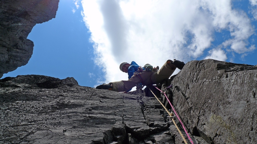 Me starting the second pitch of June Crack