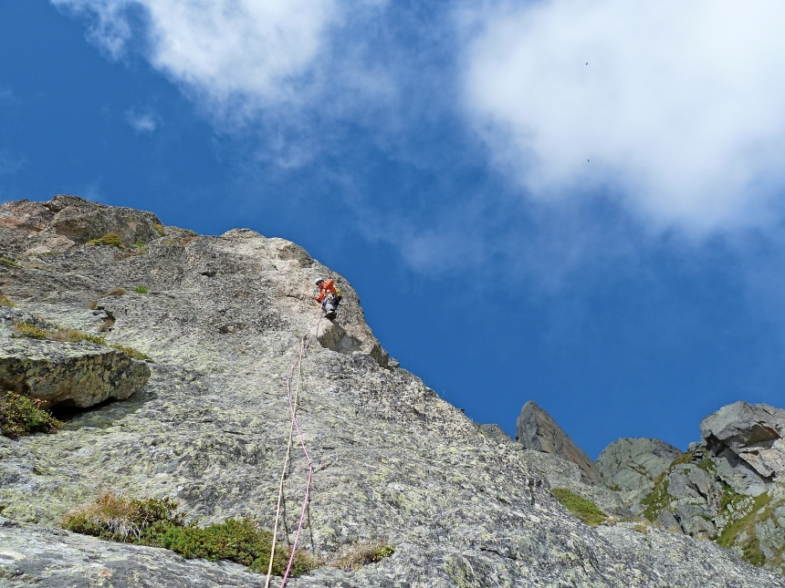 Dave on the first 6a pitch on Cochar - Cochan