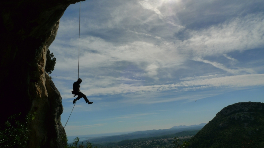Abseiling off the Main Face at Saint Jeannet, Cote d'Azur