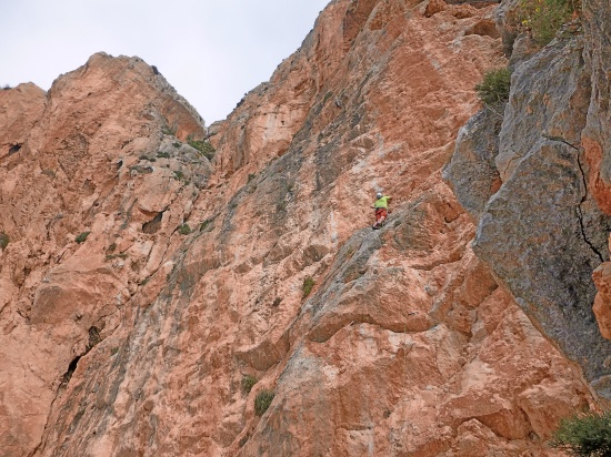 Duncan on the first 6b+ pitch. Smooth technical climbing in a sea of limestone!