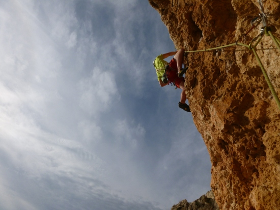 Duncan making wild moves out the cave on the top pitch 6c+