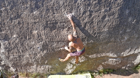 Pulling hard on f6C El Cogul. No names in our guidebook which is a shame....