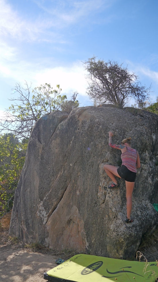 Jane actually enjoying a bit of bouldering! Great stuff.....