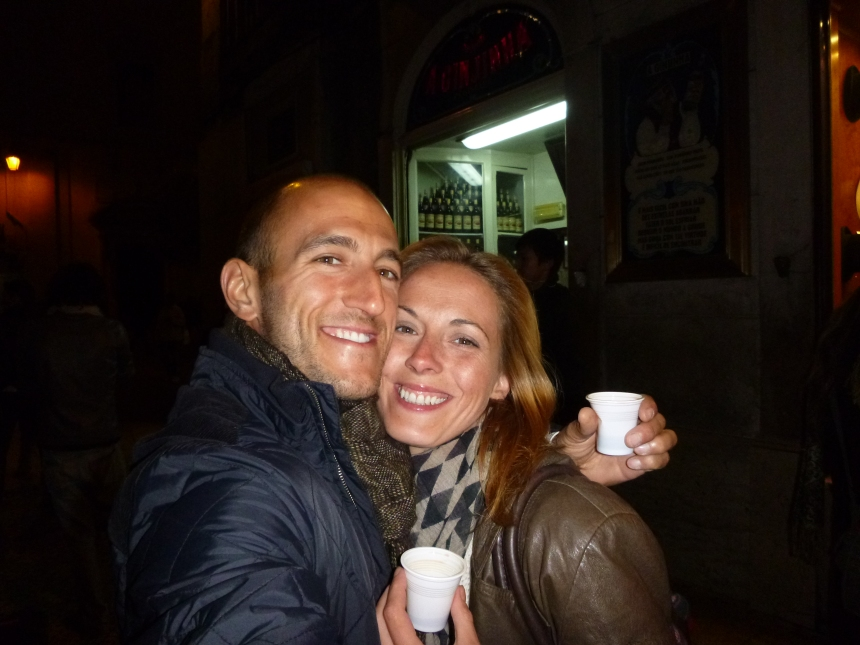 Getting drunk on 'Ginja' in the street - Lisbon