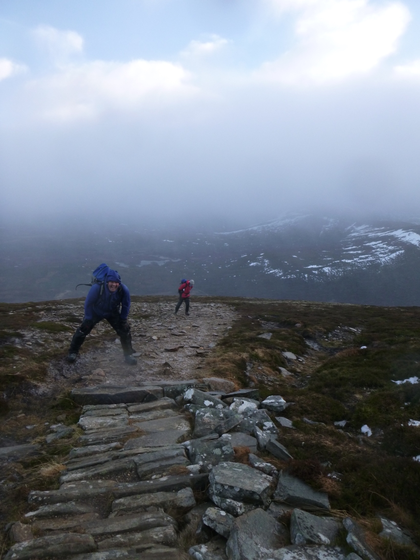 Windy on route up Meal a'buachaille
