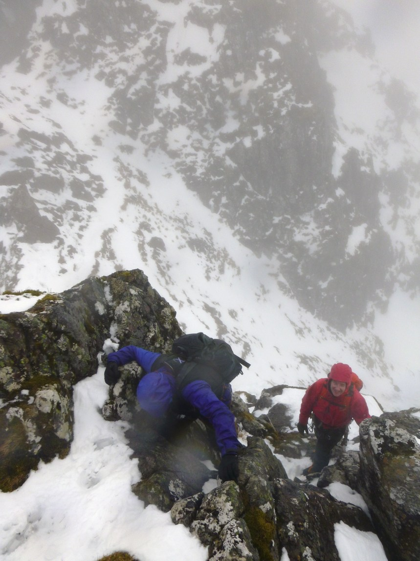 Lots of hands on and little in the way of ropes or axes today, a nice way to traverse the ridge