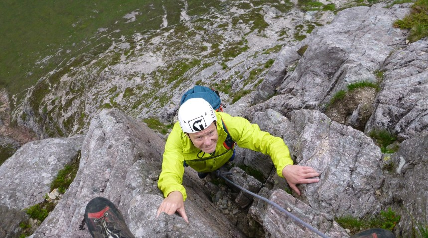 A happy man on North Buttress - Buachaille Etive Mòr