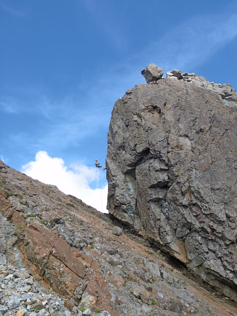 Tamsin abseiling off the Inn Pinn