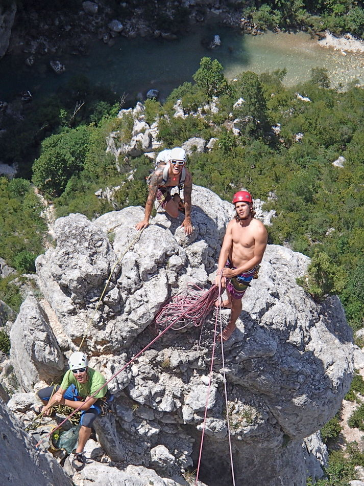 Climbing as two pairs in the Verdon, great fun
