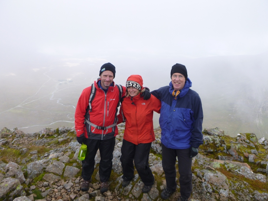 Wet but happy to be on the summit of Stob Dearg