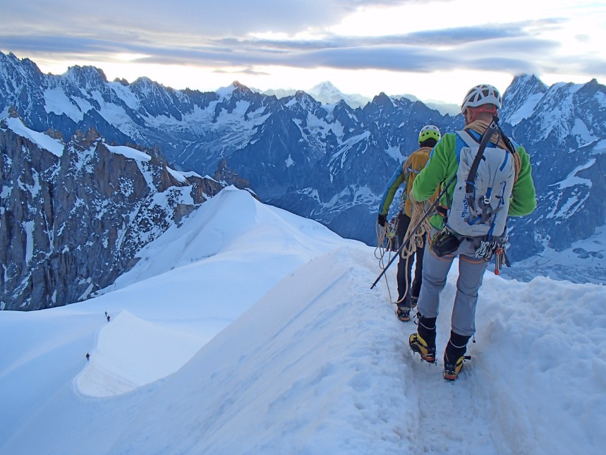 Embarking onto the Midi Arête - Chamonix