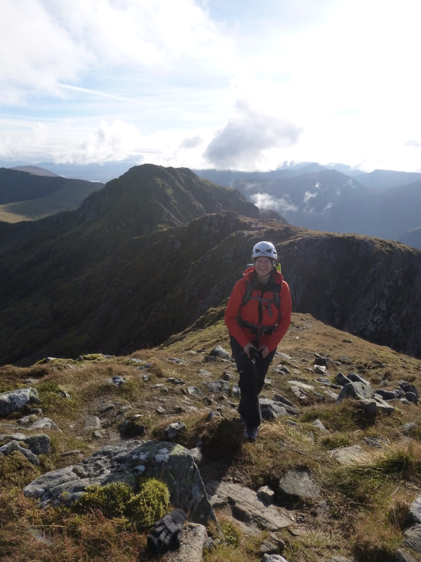 Claire enjoying the Aonach Eagach