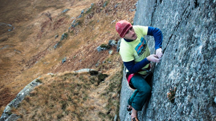 Eyeing up the crux......