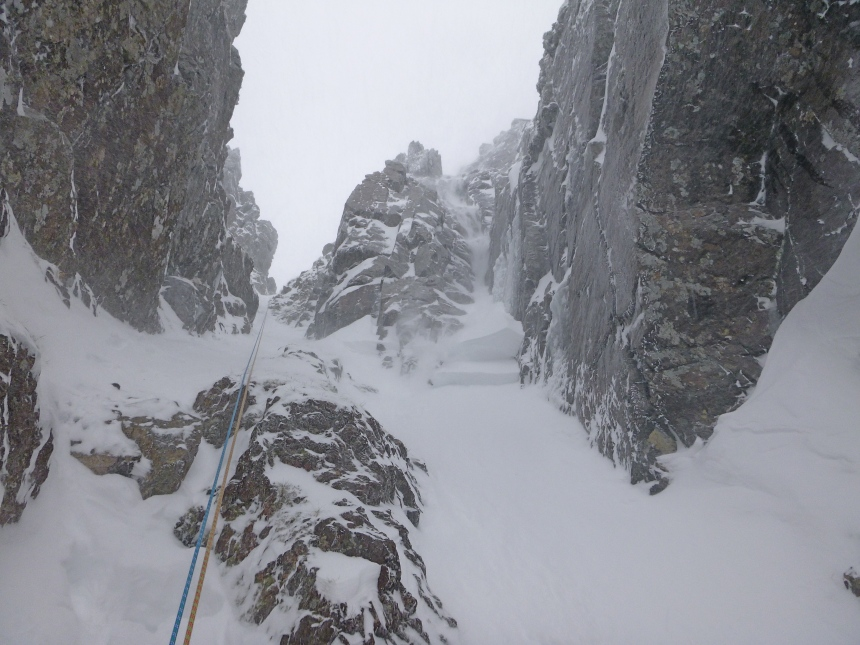 That's the second crown wall after triggering an avalanche near the top of West Gully