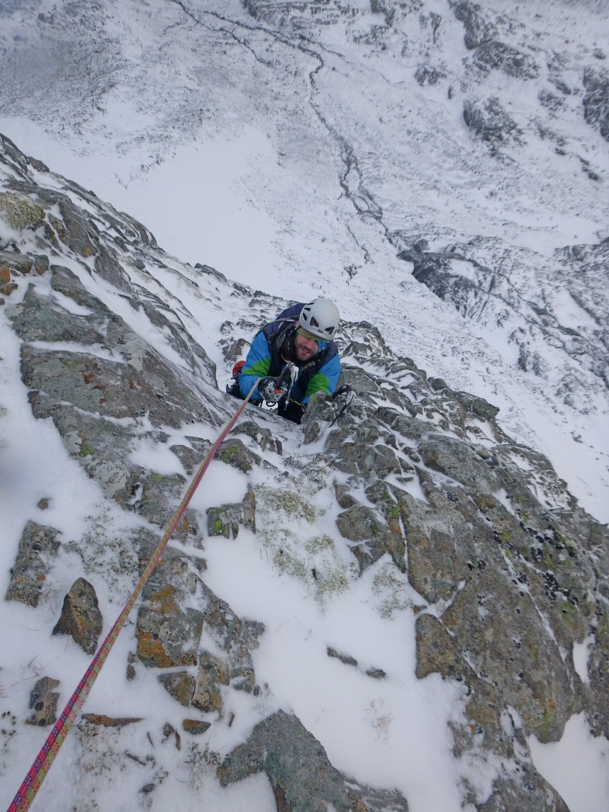 Topping out on Moonlight Gully Buttress