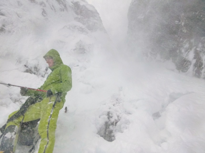 Spindrift powering down No.6 Gully