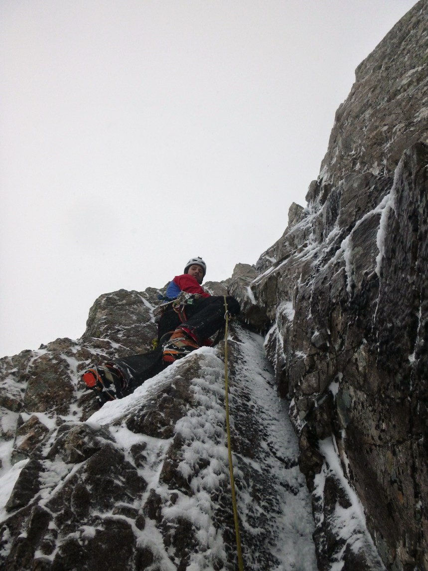 John on the second pitch of Right Hand Chimney MGB