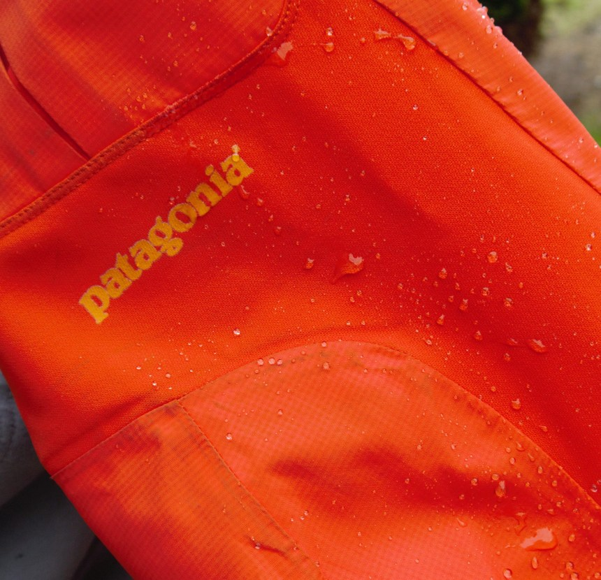 Water easily beading off the Polartec fabric