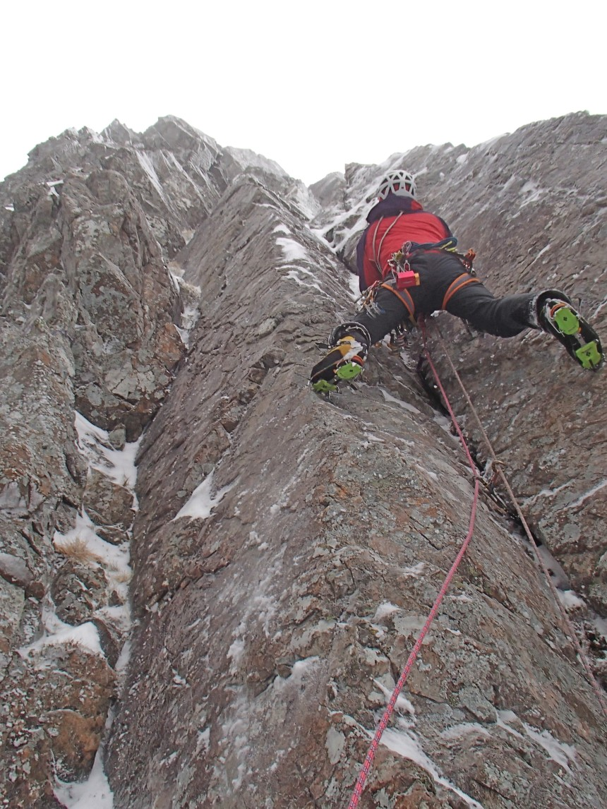 Superb technical and well protected climbing on the FA of Inception (V,7) on Ben Nevis