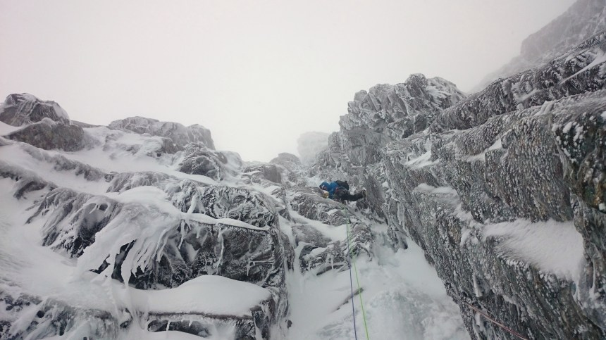 Mike making steady progress on Minus Two Gully