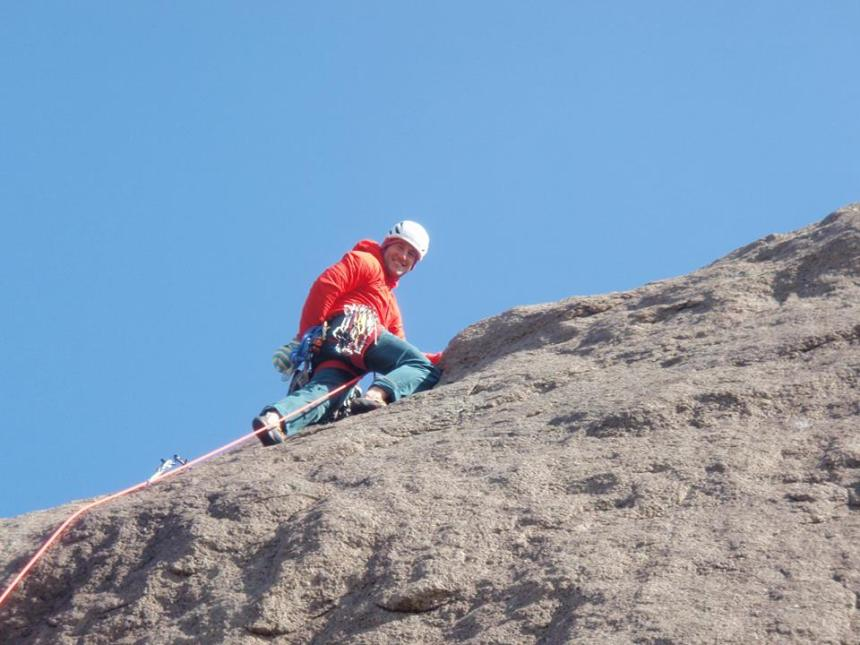 Rock climbing in the Nano-Air Hoody