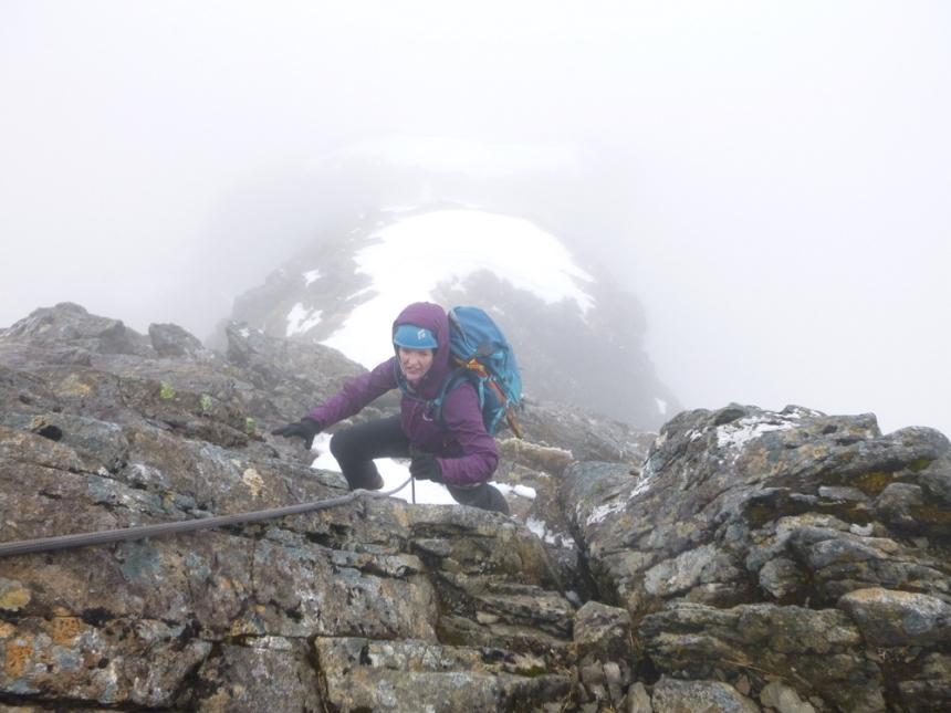 Marie enjoying Tower Ridge