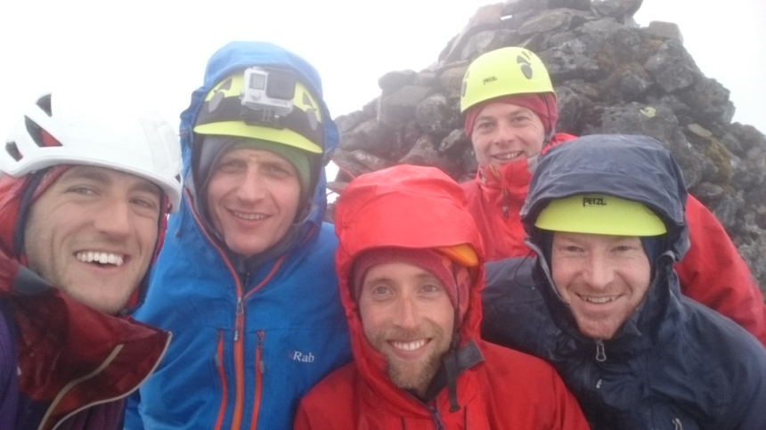 Taking shelter on a wet and windy Sgurr nan Eag