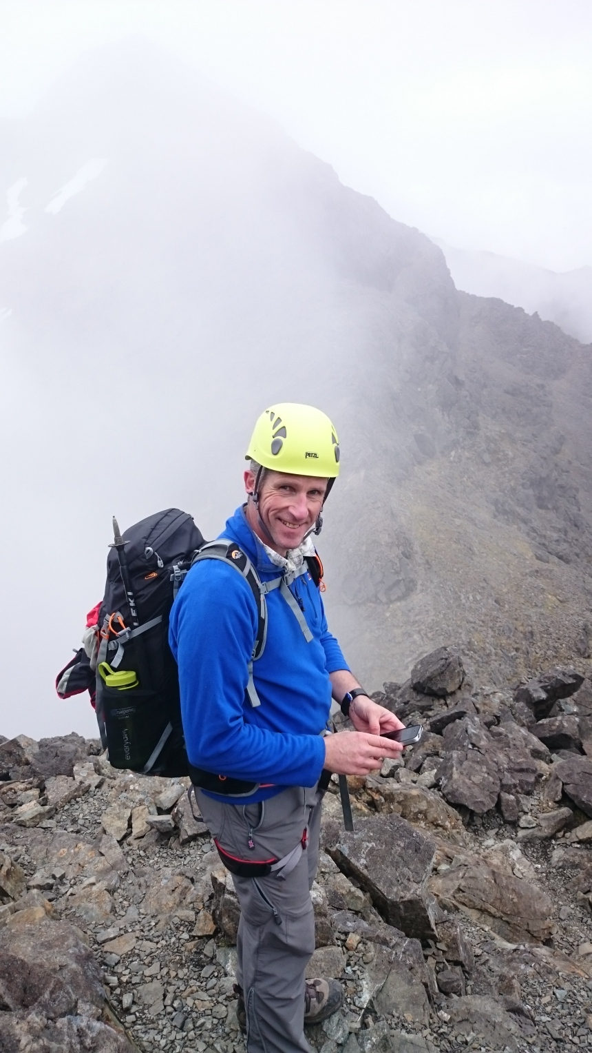 Ian enjoying his first outing on the Cuillin Ridge