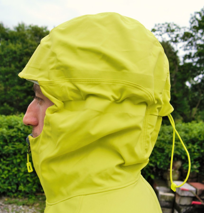 The Levitation Hoody sports a brilliant hood. Seen here over a Black Diamond Vapor Helmet