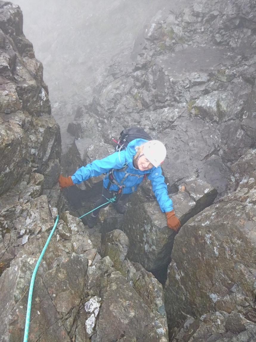Anne enjoying the scramble toward Sgurr Alasdair