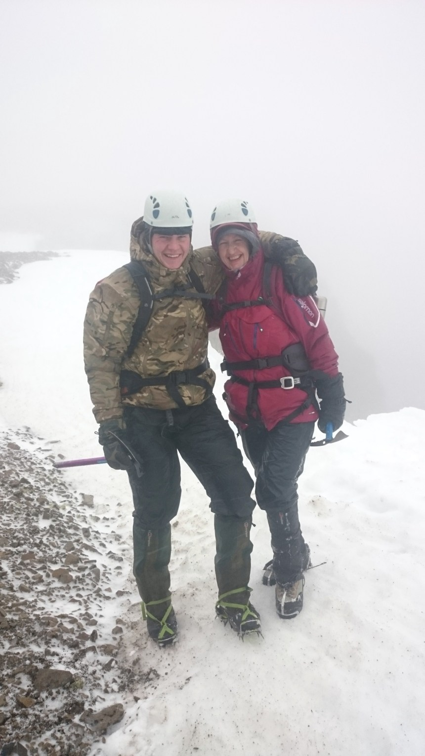 Mother and son atop No.4 Gully