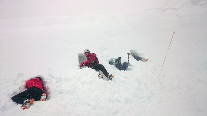 Lots of digging in a large drift in Coire Leis