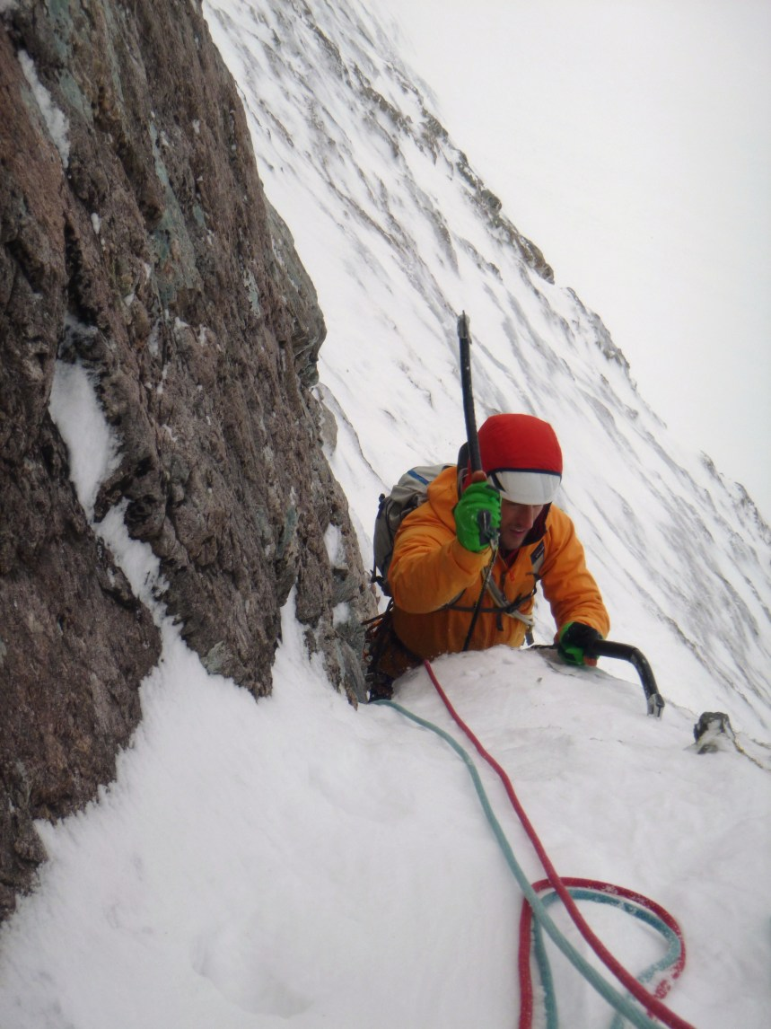 Getting to the belay on great snow ice (Phtoto: Hannah)