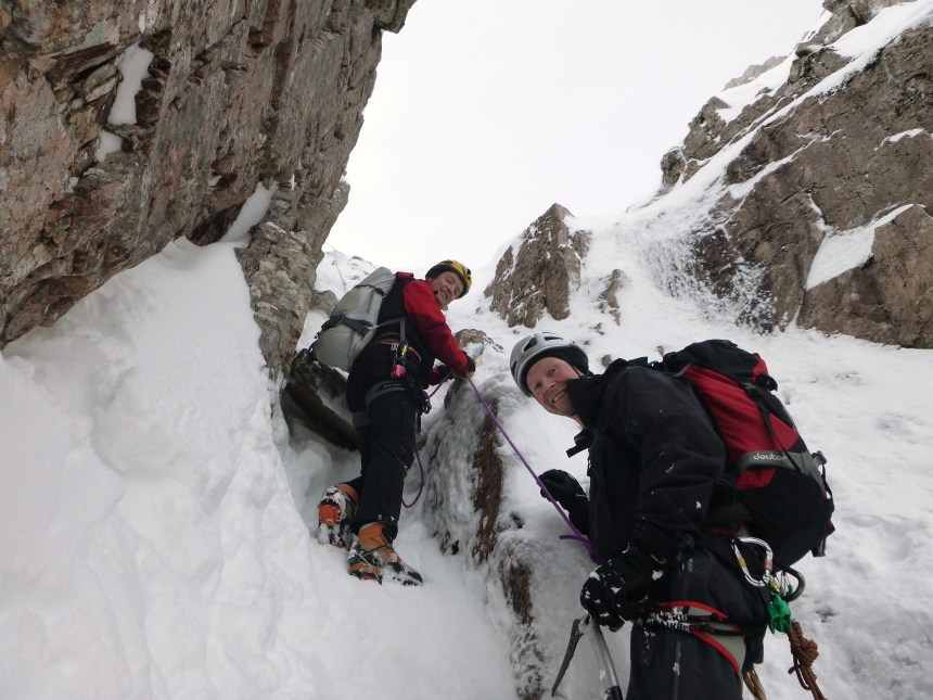 Heading up the icy gully