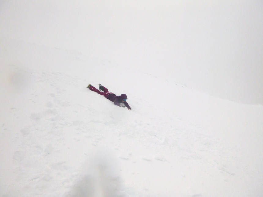 Ice axe braking on descent