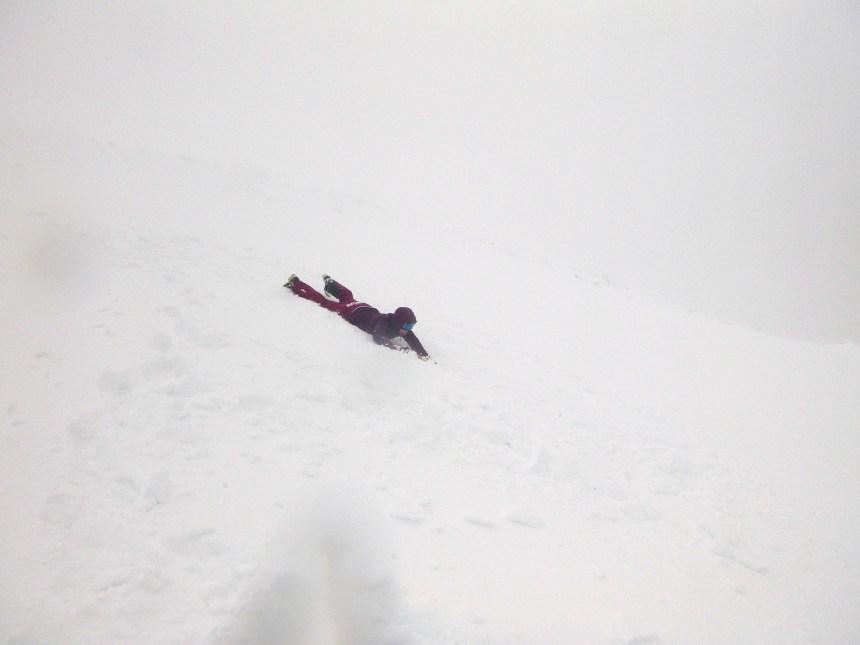 Ice axe braking on descent