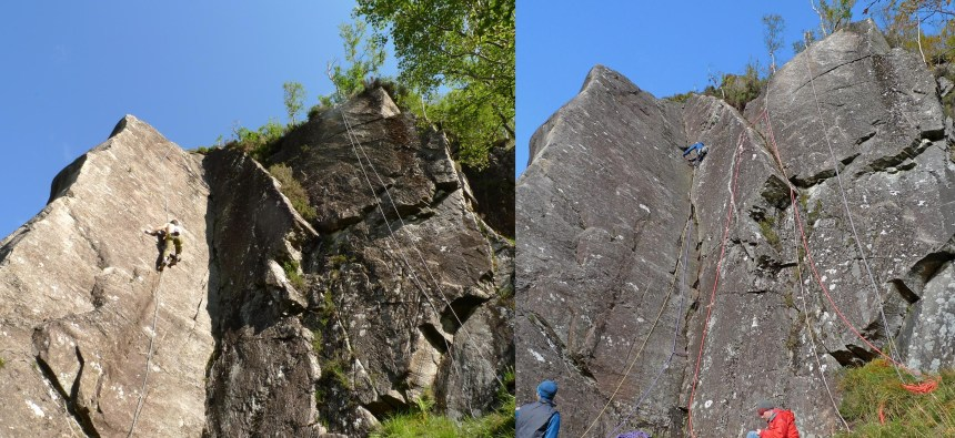 Before and after cleaning. The route goes up the right hand wall; furthest rope right.