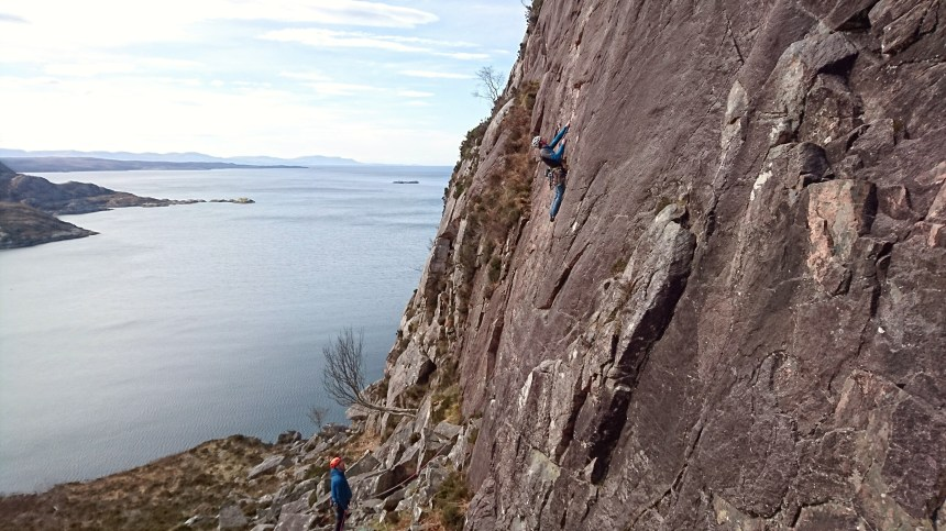 Joe on the excellent P1 (E2,5c) 'Northumberland Wall'