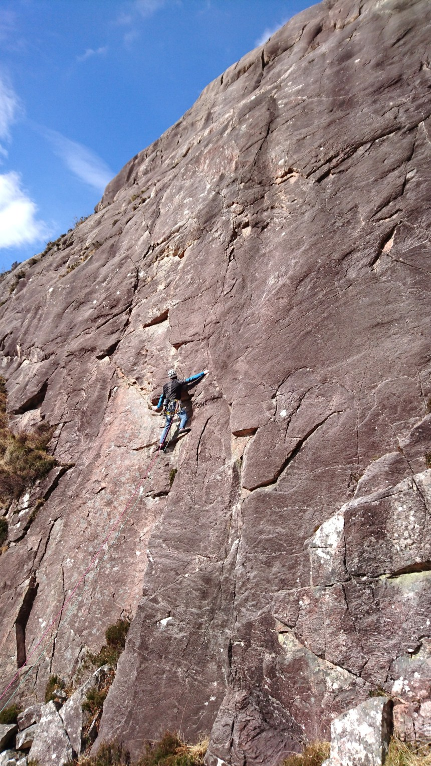 Joe keeping cool on P1 (E2,5c) 'Northumberland Wall'