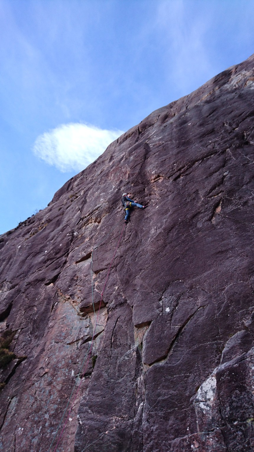 Joe on P1 (E2,5c) 'Northumberland Wall'. Tough climbing through the crux but on very positive holds. Good lead Joe.