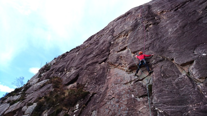 Colin following P1 (E2,5c) 'Northumberland Wall'