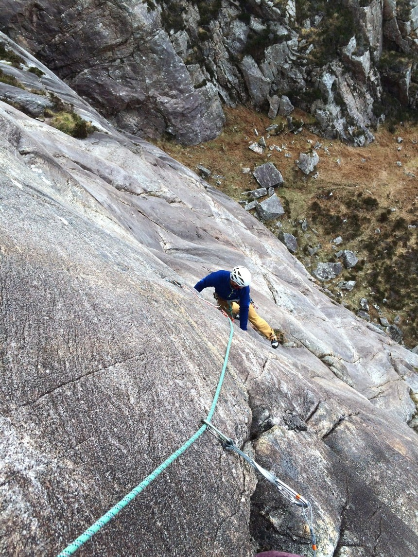 Following Colin up P3 (E1,5a) 'Route Three' - stunning rock