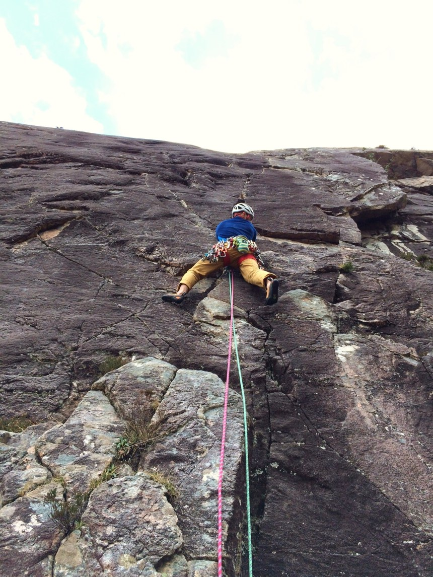 P1 (E1,5c) 'The Black Streak'. After a year out of rock shoes due to serious injury it was great being back on rock.