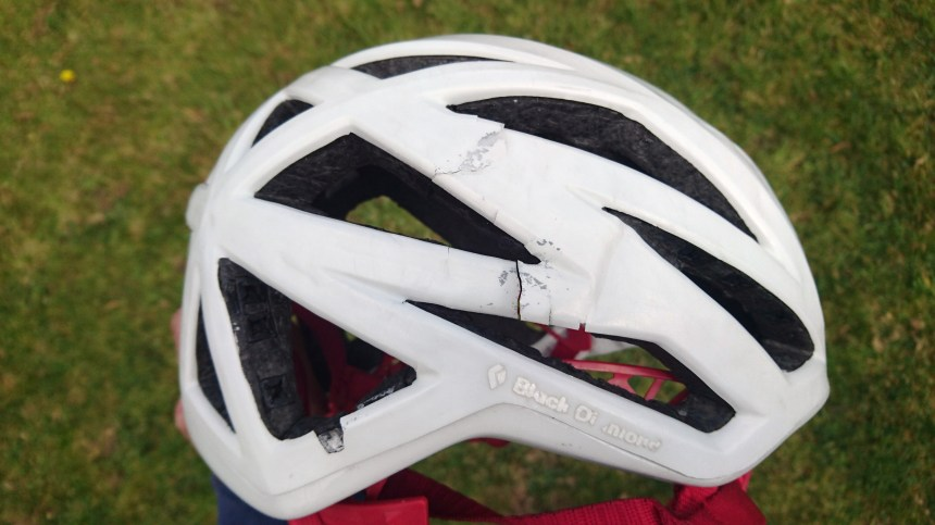 Damage caused by stuffing the helmet into my climbing pack and generally not looking after it properly