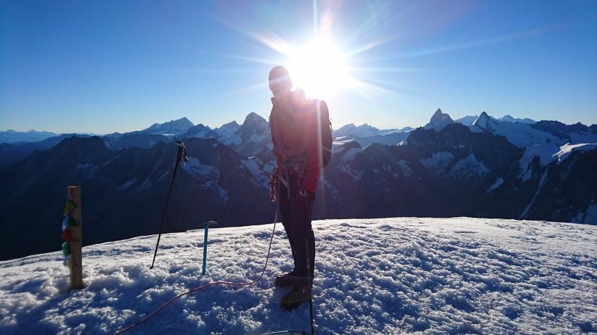 Ken on the summit of Pinge de Arolla