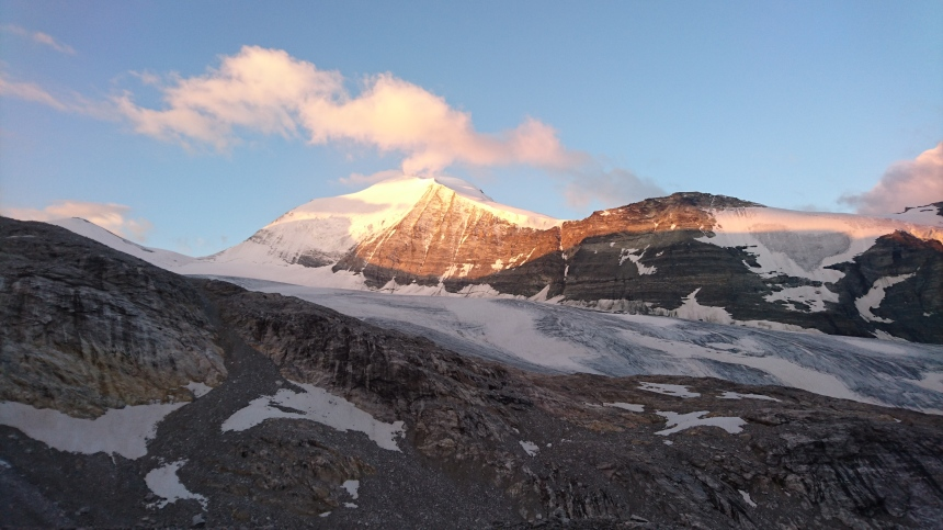 The Bishorn at sunrise. We were heading for its less travelled East Ridge before I seen a lightening bolt in the opposite direction...
