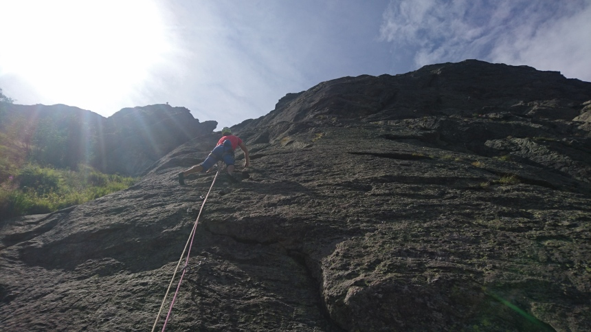 Climbing on the Chesrys Slabs