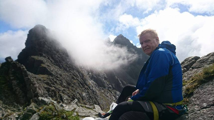 John soaking up the ray post Sgurr MhicCoinnich